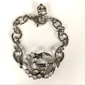 Gucci silvertone logo bracelet